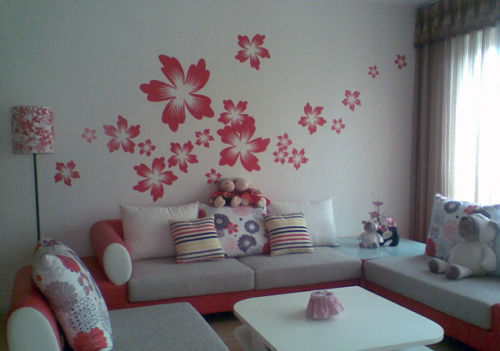 red removable vinyl kid's wall sticker flowers Australia